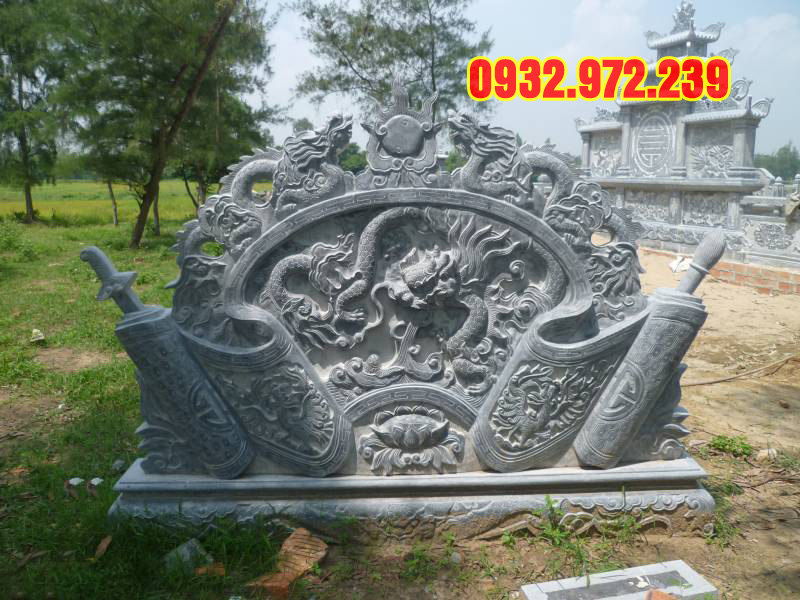 Mẫu cuốn thư đá khắc hình rồng.